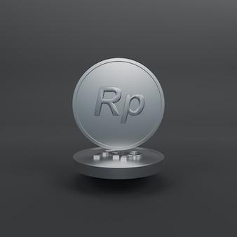 Minimalistische silbermünze rupiah 3d-darstellung