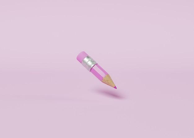 Minimalistische szene eines rosa bleistifts, der in der luft aufgehängt ist. pastellfarbe. konzept der bildung und zurück zur schule. 3d-rendering