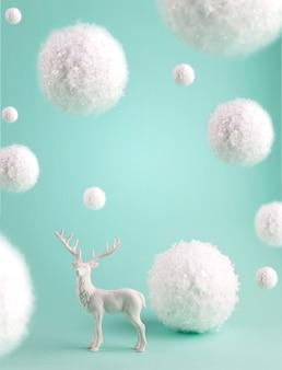 Minimalistische winterkomposition mit big flying snowballs und white deer.
