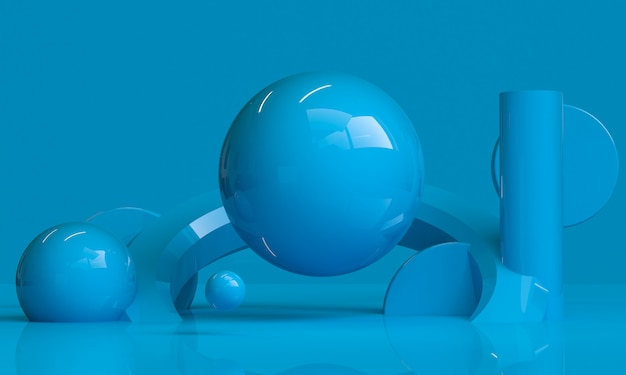 Minimalistischer abstrakter hintergrund der blauen geometrischen form, 3d übertragen.