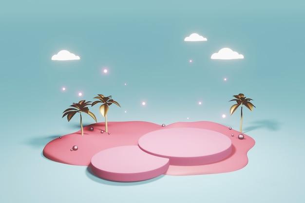 Minimalistischer abstrakter hintergrund, pastellfarben, anzeige für produkt. 3d-rendering