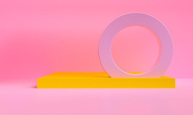 Minimalistischer abstrakter hintergrund, primitive geometrische figuren, pastellfarben, 3d-rendering.
