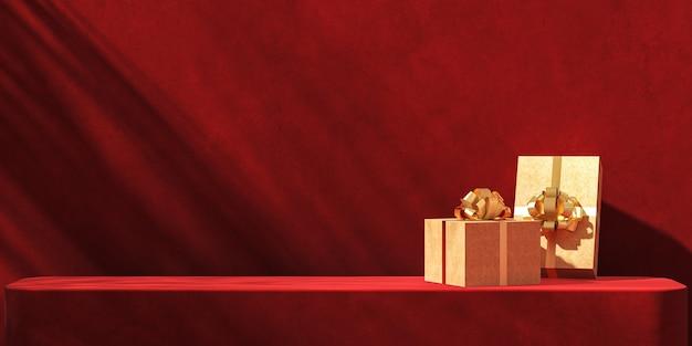 Minimalistischer abstrakter mockup-hintergrund, geschenkboxen und goldband auf roter plattform, tropische pflanzenschatten des sonnenschutzes auf roter gipswand. 3d-rendering