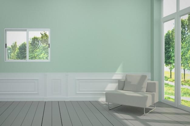 Minimalistischer innenraum mit weißem stuhl auf blauer heller wand. 3d-rendering