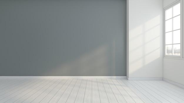 Minimalistischer leerer raum mit grauer wand. 3d-rendering