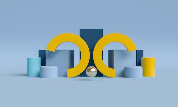 Minimalistischer primitiver geometrischer abstrakter hintergrund, stilvolles trendiges illustrationspodest, ständer, schaufenster auf pastellfarbe für premiumprodukt. 3d rendern.