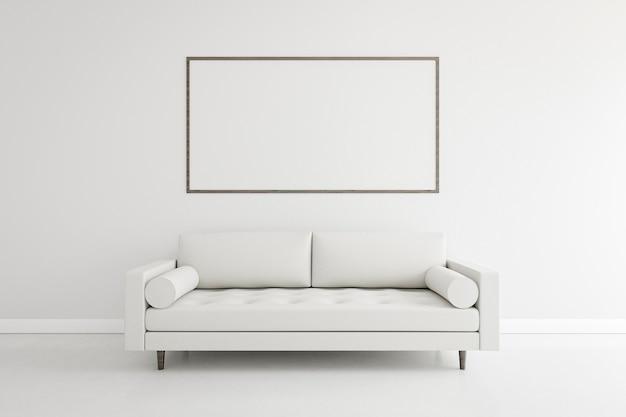 Minimalistischer raum mit elegantem sofa und rahmen