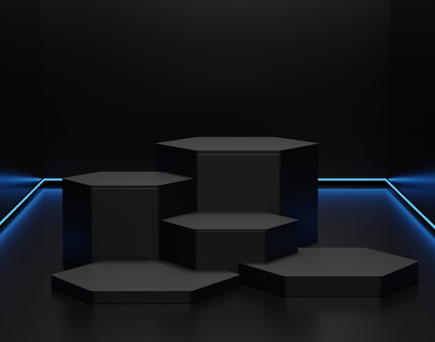 Minimalistischer schwarzer themenhintergrund. 3d abstrakte minimale geometrische formen. glänzendes luxuspodest für ihr design.