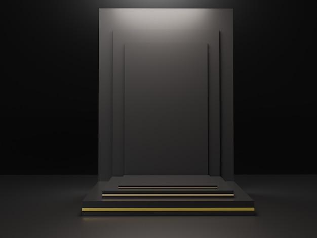 Minimalistischer schwarzer themenhintergrund. 3d abstrakte minimale geometrische formen