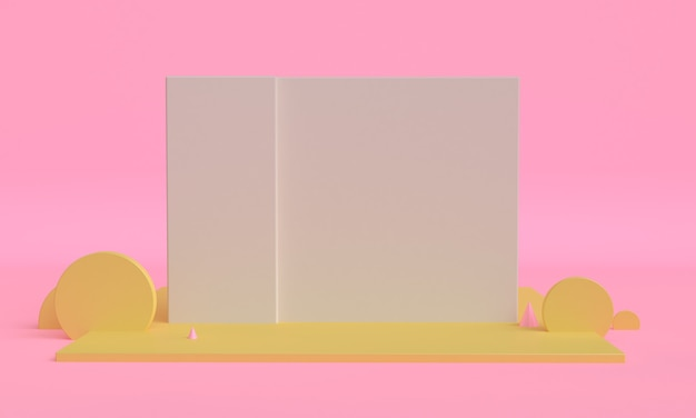 Minimalistischer stilentwurf der rosa box 3d, abstrakter hintergrund 3d rendern.