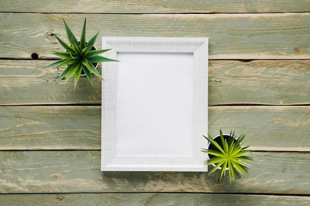 Minimalistischer weißer rahmen, umgeben von pflanzen