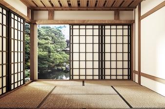 Minimalistisches Design mit Tatami-Mattenboden und japanischem, leerem Innenraum