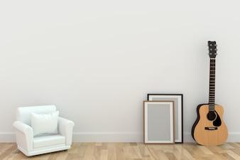 Minimalistisches einzelnes Sofadesign mit Gitarre im Raum in der Wiedergabe 3D