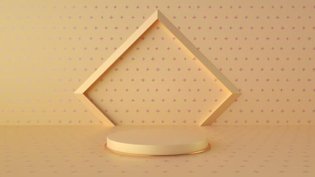 Minimalistisches gelb und magenta podium für die anzeige