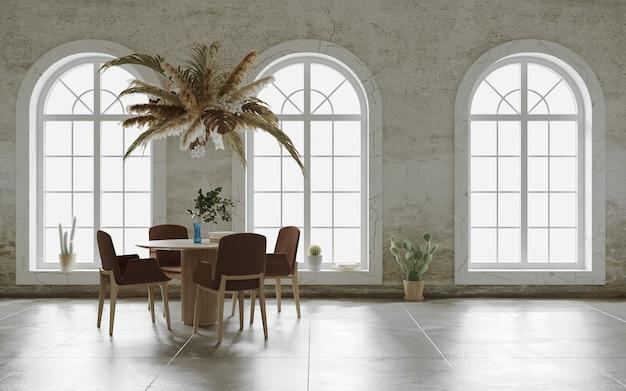 Minimalistisches innendesign mit hängender blumenwolke über dem tisch 3d-rendering