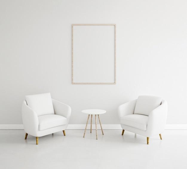 Minimalistisches interieur mit elegantem gestell und sesseln