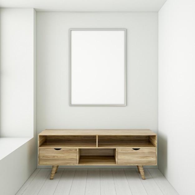 Minimalistisches interieur mit elegantem rahmen und schreibtisch
