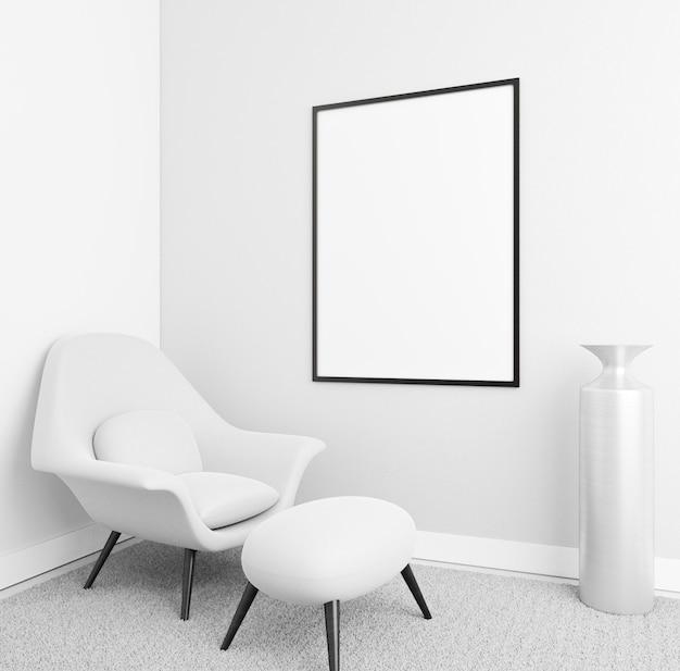 Minimalistisches interieur mit elegantem rahmen und sessel