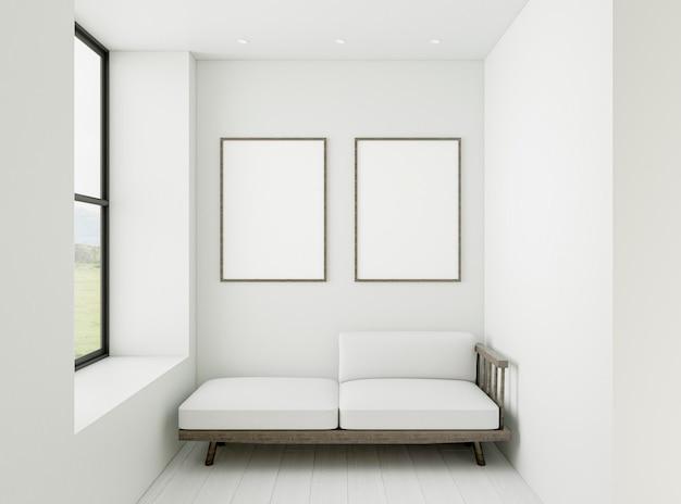 Minimalistisches interieur mit eleganten rahmen