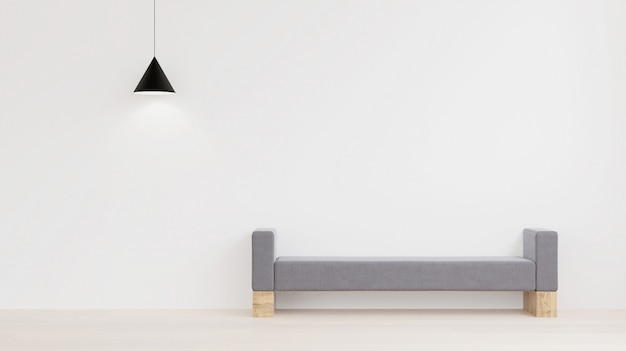 Minimalistisches interieurdesign, weiße wand, stoff und holzcouch