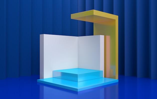 Minimalistisches schaufenster mit leerem raum. design für die produktpräsentation im trendigen, modernen stil. 3d-rendering.