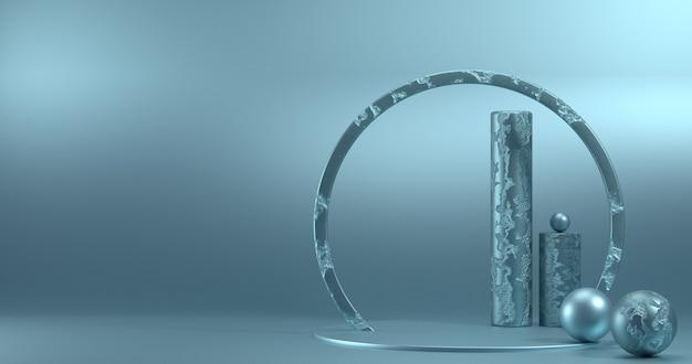 Minimalistisches schaufenster mit leerem raum. leeres podium für displayprodukt. 3d-rendering.