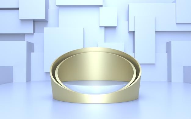 Minimalistisches weiches blaues goldzylinder-podium für produktanzeige mit geometrischem abstraktem hintergrund