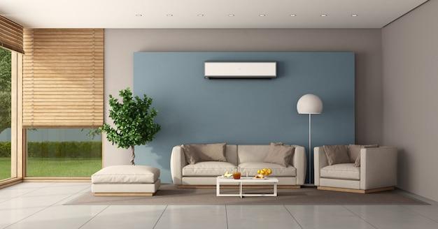 Minimalistisches wohnzimmer mit klimaanlage