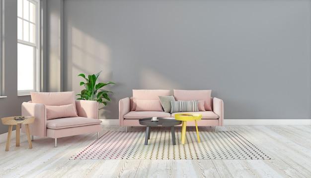 Minimalistisches wohnzimmer mit rosa sofa und beistelltisch, grauer wand und holzboden. 3d-rendering