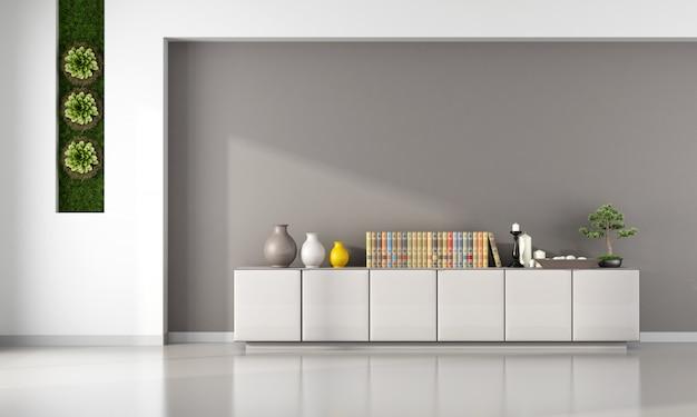 Minimalistisches wohnzimmer mit sideboard mit buch- und dekorationsobjekten