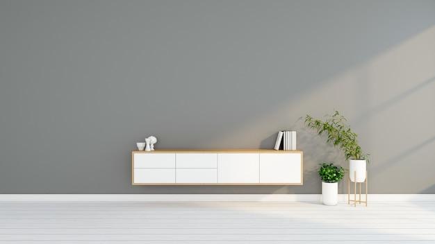 Minimalistisches wohnzimmer mit tv-tisch aus holz 3d-rendering