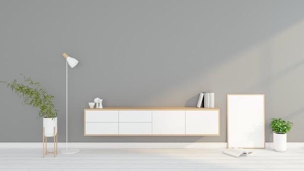 Minimalistisches wohnzimmer mit tv-tisch aus holz und bilderrahmen 3d-rendering