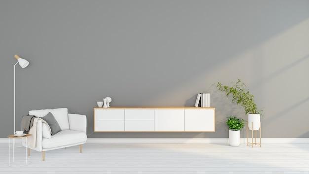 Minimalistisches wohnzimmer mit tv-tisch aus holz und sessel 3d-rendering