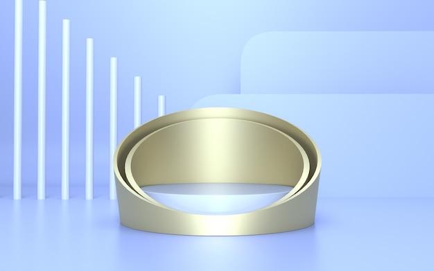Minimalistisches zylinderpodest aus weichem blauem gold für die produktanzeige