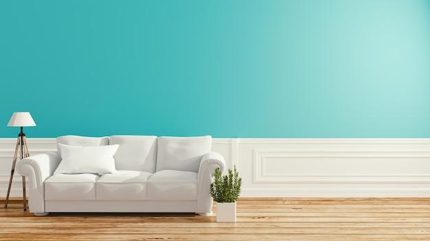 Mint-zimmer - schönes zimmer, leerer raum, modernes helles interieur. 3d-rendering
