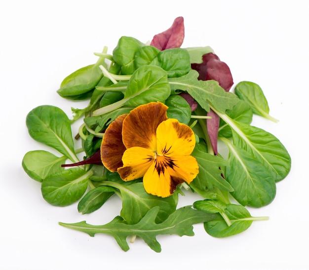 Mischen sie salat mit rucola-spinat-salat rote und essbare blumen auf einem weißen isoliert