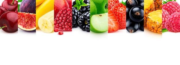 Mischung aus gesunden lebensmitteln mit exemplar, obst und beeren-auflistung