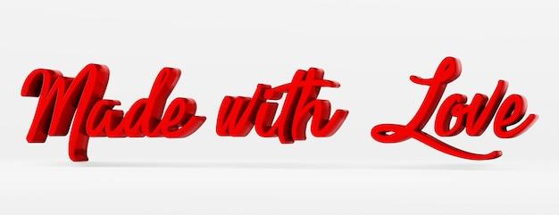 Mit liebe gemacht ein kalligraphischer satz 3d-logo im stil der handkalligraphie 3d-rendering