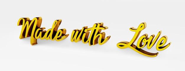 Mit liebe gemacht. ein kalligraphischer satz. 3d-logo im stil der handkalligraphie auf weißem, einheitlichem hintergrund mit schatten. 3d-rendering.
