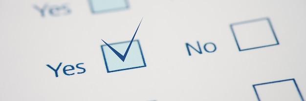 Mit richtiger antwort markieren ist im feld ja nahaufnahme fragebogenkonzept ausfüllen
