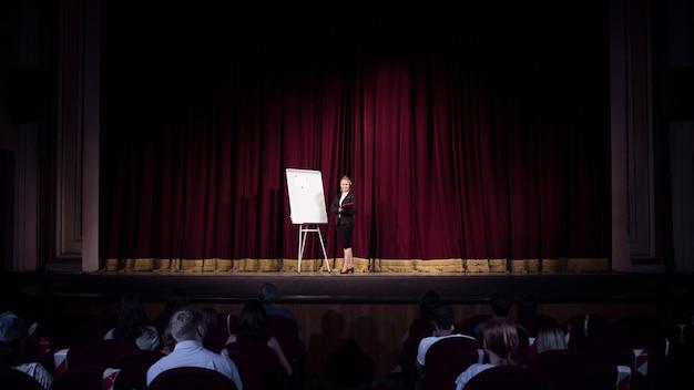 Mit studenten sprechen. sprecherin in der halle des workshops. geschäftszentrum. rückansicht der teilnehmer im publikum. konferenzveranstaltung, schulung.