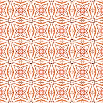 Mit ziegeln gedeckter aquarellhintergrund. orange großartiger boho-chic-sommerentwurf. textilfertiger fettdruck, badebekleidungsstoff, tapete, verpackung. handgemalte geflieste aquarellgrenze.