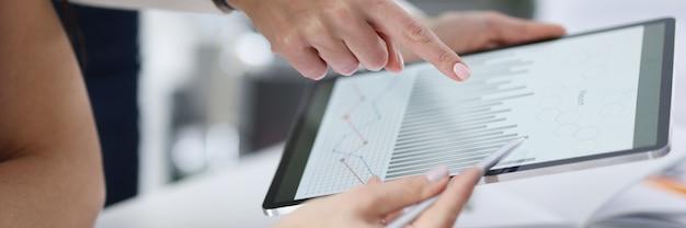 Mitarbeiter studieren kommerzielle geschäftsindikatoren in form von diagrammen auf dem tablet