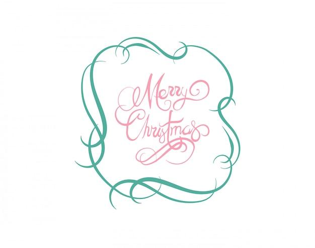 Mitteilungsvektor der frohen weihnachten im kursiven grün und im rosa