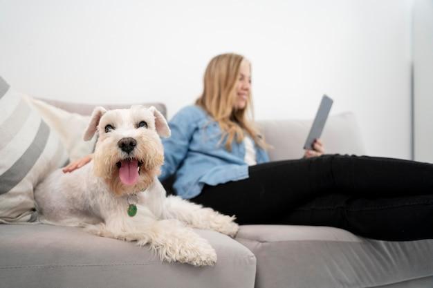 Mittelstarke frau mit tablet und hund