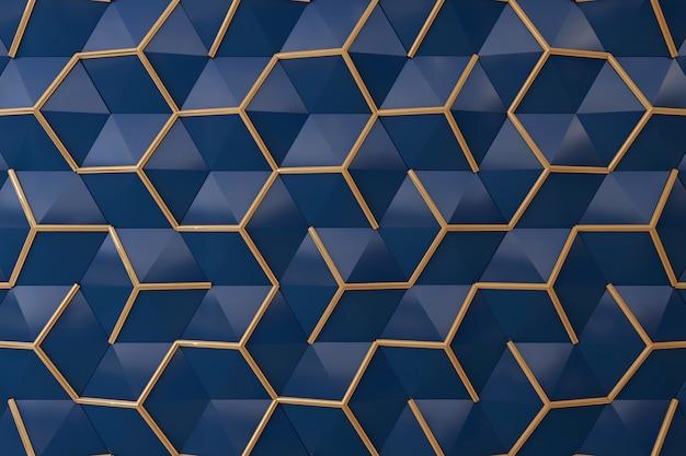 Mitternachtsblau und wand des gold 3d für hintergrund