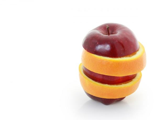 Mixed fruit apfel in scheiben geschnitten