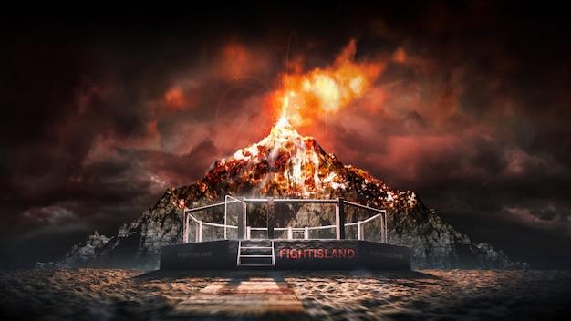 Mma-achteck auf der insel. vulkanexplosion auf der kampfinsel. mma-achteck durch vulkanausbruch beleuchtet. sport. 3d-rendering