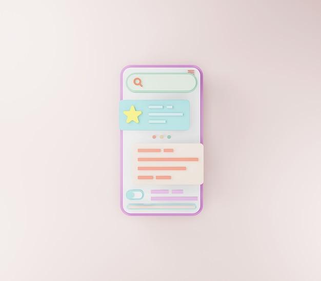 Mobile app-entwicklung und mobile web design-konzept optimierung der benutzeroberfläche 3d-rendering