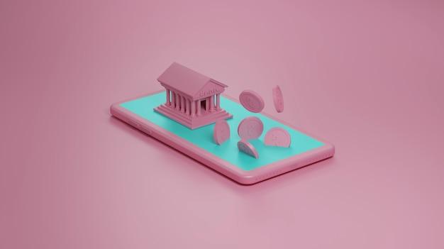 Mobile-banking-konzept in der rosa wand, 3d illustration.